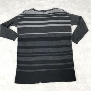 Eileen Fisher Gray Striped Merino Wool Sweater